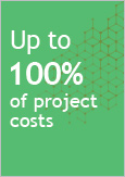 Illustration indicating Up to 100% of project costs