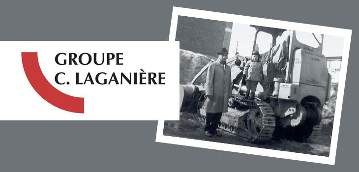 Logo du Groupe C. Laganière et photo noir et blanc d'un homme, accompagné d'un garçon debout sur une pelle mécanique