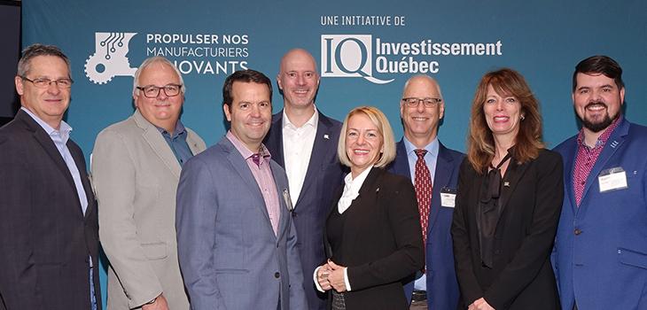 De gauche à droite: Michel Bourgault (IQ), Jean Pouliot, président de PMI, André Boucher, président de Verbois, Jocelyn Beauchesne (IQ), Lucie Beaulieu (IQ), Michel Garon, directeur général du CDBQ, Sylvie Pinsonnault (IQ) et Guillaume Cavanagh (IQ)
