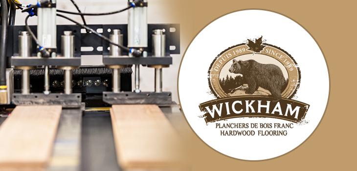 Photo de machinerie et logo de Planchers Wickham