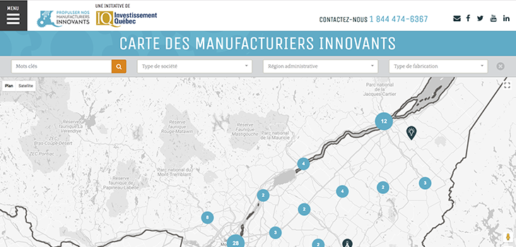 Image représentant la carte interactive des manufacturiers innovants