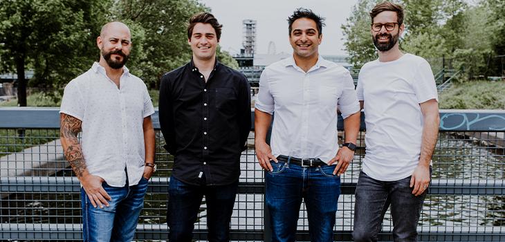 De gauche à droite : Sébastien Malherbe, Jean-Nicholas Hould, Arach Tchoupani et Ian Jeffrey, fondateurs de l'entreprise