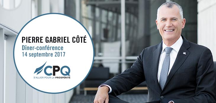 Photo de monsieur Côté et texte indiquant « Dîner-conférence CPQ: s'allier pour la prospérité »