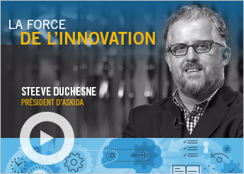 Photo de Steeve Duchesne, PDG Askika et texte indiquant « La force de l'innovation »