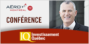 Image incluant la photo de Pierre Gabriel Côté et texte indiquant Aéro Montréal, Conférence