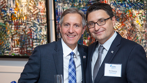 Photo of Raymond Leduc (left), President of Bell Helicopter Textron Canada, and Éric Dequenne, Investissement Québec's Director of International Subsidiaries