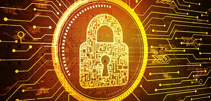 Cybersécurité - Concept de sécurité: cadenas fermé sur fond numérique