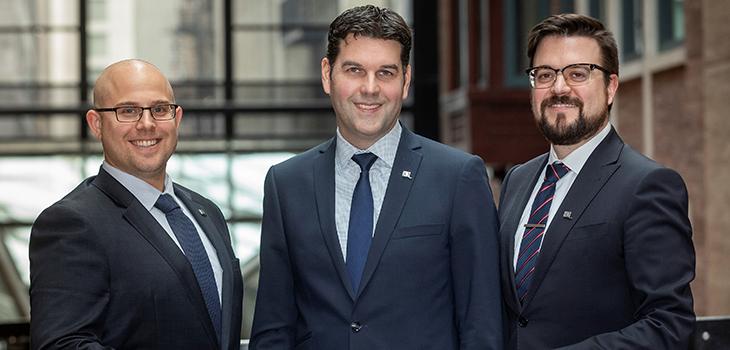 De gauche à droite :Alex Laverdière, Directeur, Capital de risque,Sebastian Boisjoly, Vice-président, Capital de risque et fonds d'Investissement,Benoit M. Leroux, Directeur, Fonds d'investissement.