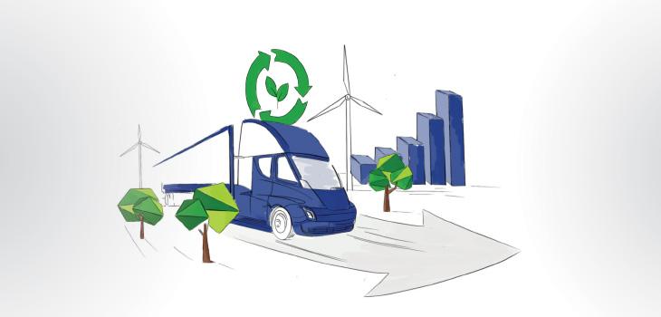 Illustration représentant les éléments requis pour économie plus verte