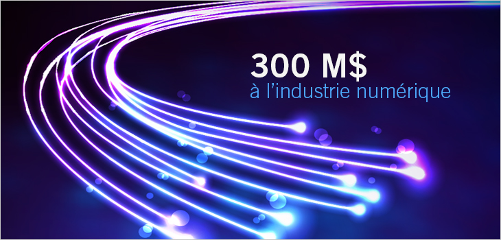 Image de fibre optique  et texte indiquant 300 M$ à l'industrie numérique